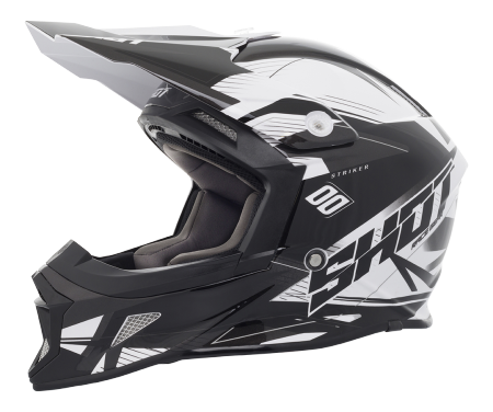 SHOT RACE GEAR 2018 HELMA STRIKER  SIDE  BLACK/WHITE BRILLANT