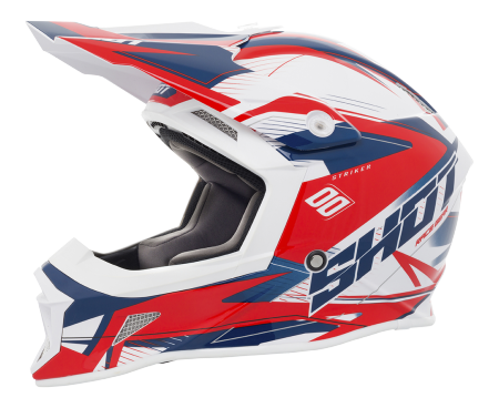 SHOT RACE GEAR 2018 HELMA STRIKER  SIDE  BLUE/RED BRILLANT + NACRÉ