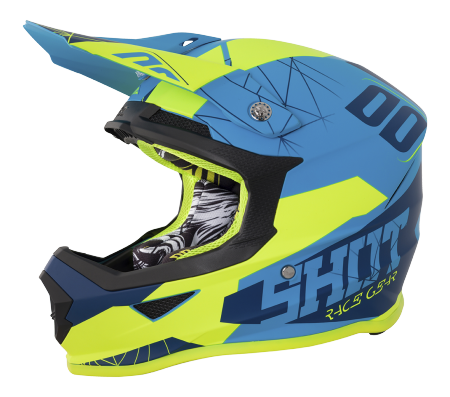 SHOT RACE GEAR 2018  HELMA FURIOUS SPECTRE BLUE/ NEON YELLOW MAT