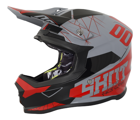 SHOT RACE GEAR 2018  HELMA FURIOUS SPECTRE GREY/RED BRILLANT