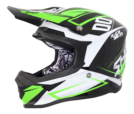 SHOT RACE GEAR 2018  HELMA FURIOUS ALERT BLACK/GREEN BRILLANT