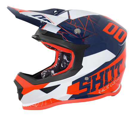 SHOT RACE GEAR 2018  HELMA FURIOUS SPECTRE BLUE/ NEON ORANGE BRILLANT